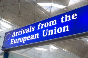 Arrivals from the European Union customs channel at Stansted Airport, England, Britain UK