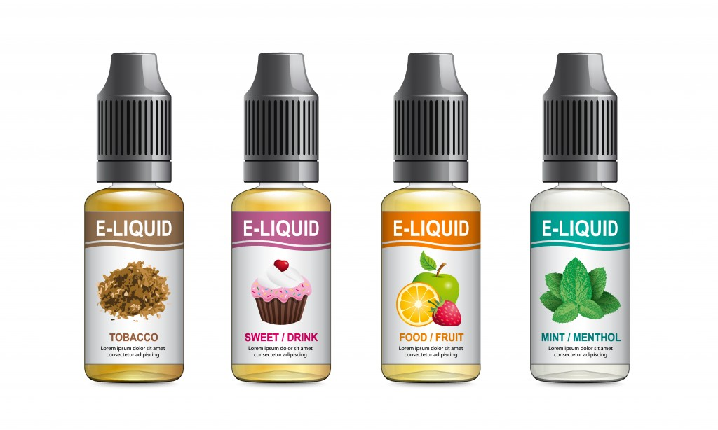 Realistic vector illustration of plastic bottles of e-liquid for vaping. Templates for e-liquid label