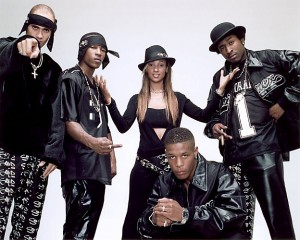Members of the 30-strong line-up of 'So Solid Crew' of DJs and M