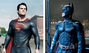 Henry Cavill as Superman in Man of Steel and Christian Bale as Batman in the Dark Knight trilogy