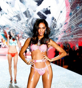 Joan Smalls walking in the 2013 Victoria's Secret Fashion Show. (Photo via @VictoriasSecret Instagram)