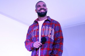TORONTO, ON - NOVEMBER 25 - Toronto Rapper Drake addresses media in a 'Hotline Bling' installation at the Air Canada Centre in Toronto on November 25, 2015, prior to a Toronto Raptors vs. Cleveland Cavaliers NBA game.        (Cole Burston/Toronto Star via Getty Images)